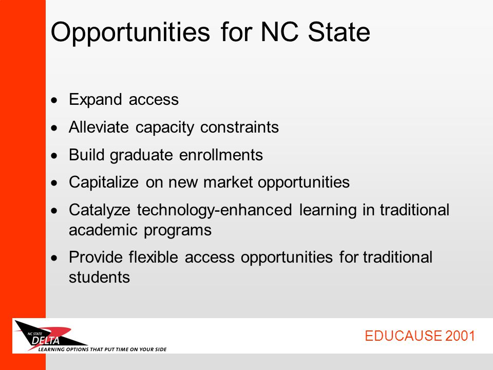 EDUCAUSE 2001 Opportunities for NC State  Expand access  Alleviate capacity constraints  Build graduate enrollments  Capitalize on new market opportunities  Catalyze technology-enhanced learning in traditional academic programs  Provide flexible access opportunities for traditional students