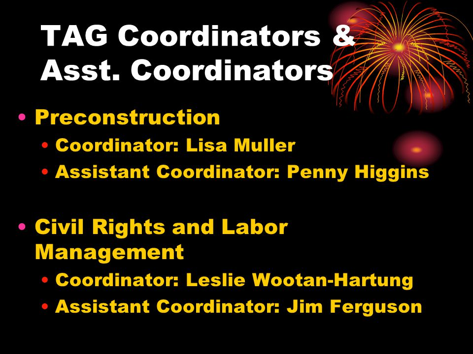 TAG Coordinators & Asst. Coordinators Preconstruction Coordinator: Lisa Muller Assistant Coordinator: Penny Higgins Civil Rights and Labor Management