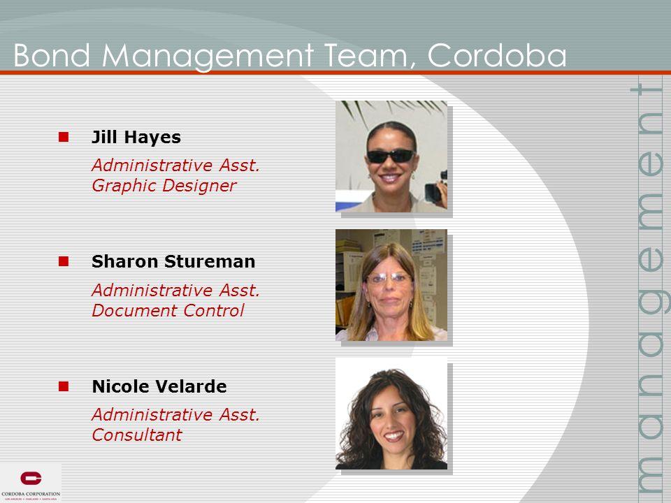 Bond Management Team, Cordoba Jill Hayes Administrative Asst.