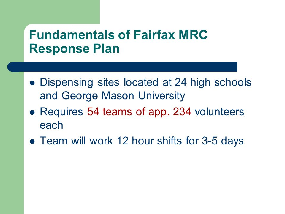 Fundamentals of Fairfax MRC Response Plan Dispensing sites located at 24 high schools and George Mason University Requires 54 teams of app.