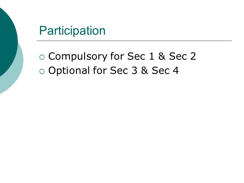 Participation  Compulsory for Sec 1 & Sec 2  Optional for Sec 3 & Sec 4