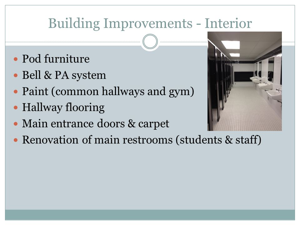 Building Improvements - Interior Pod furniture Bell & PA system Paint (common hallways and gym) Hallway flooring Main entrance doors & carpet Renovation of main restrooms (students & staff)