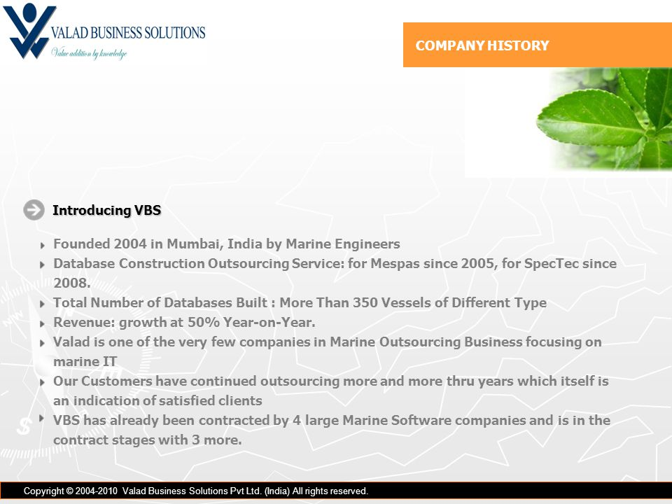 COMPANY HISTORY Copyright © 2004-2010 Valad Business Solutions Pvt Ltd.