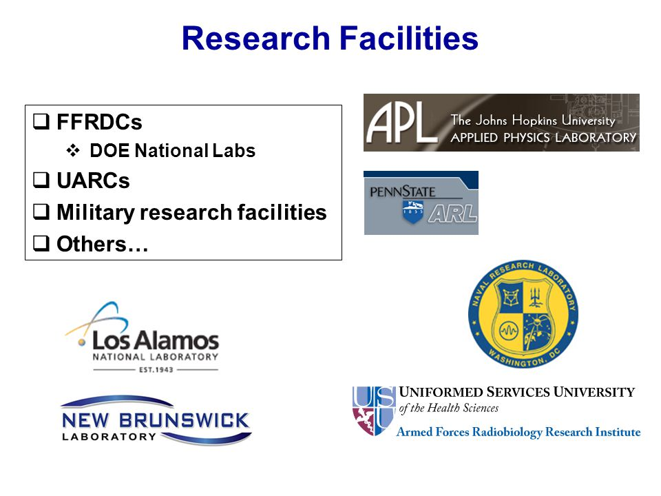Research Facilities  FFRDCs  DOE National Labs  UARCs  Military research facilities  Others…