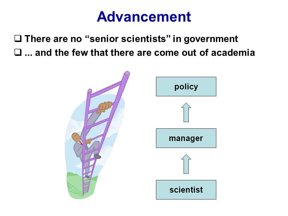 Advancement  There are no senior scientists in government ...