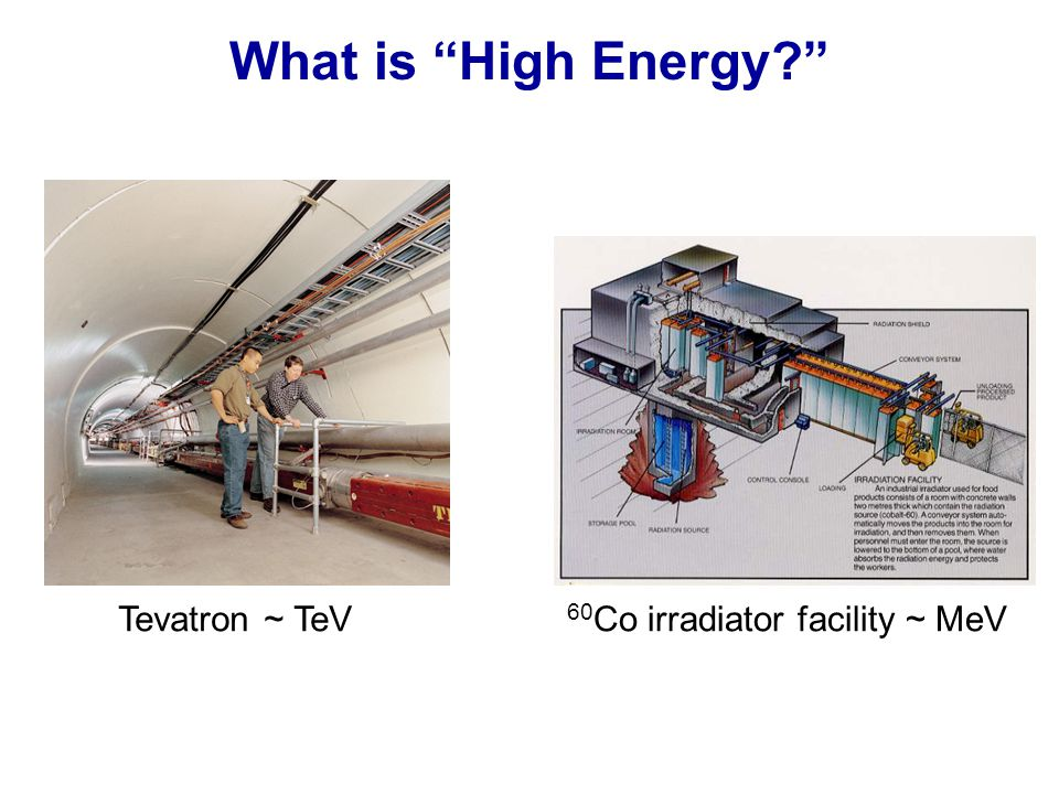 What is High Energy Tevatron ~ TeV 60 Co irradiator facility ~ MeV