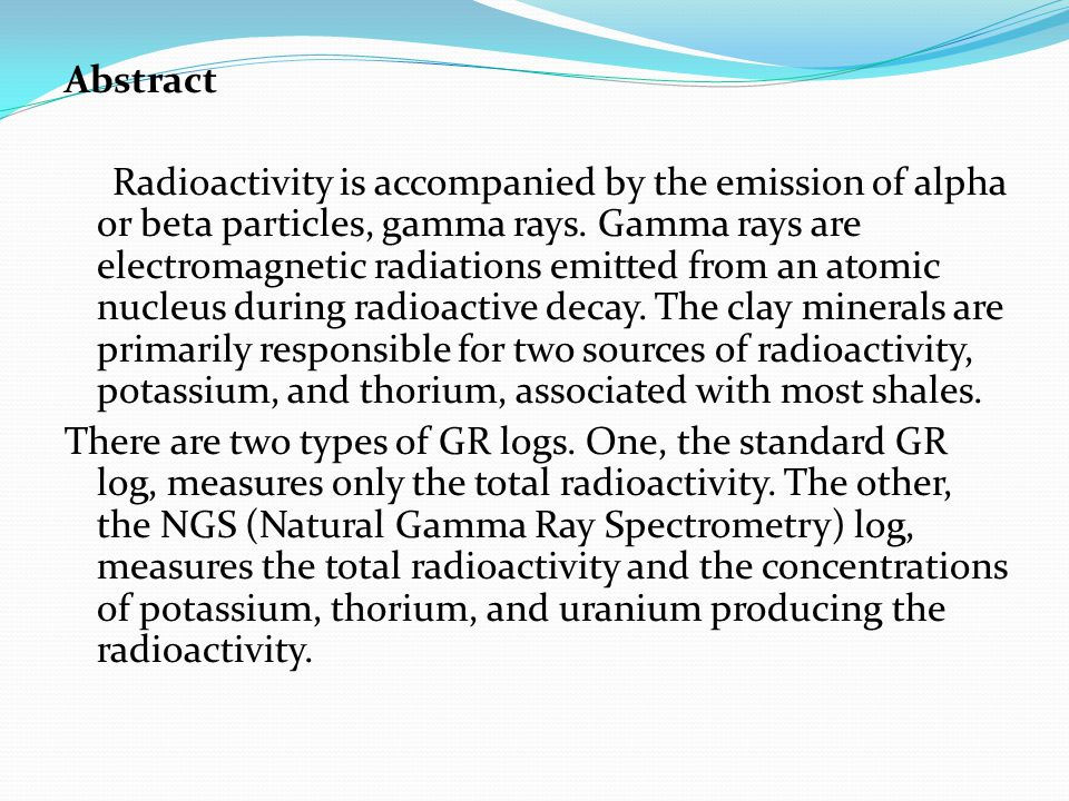 Abstract Radioactivity is accompanied by the emission of alpha or beta particles, gamma rays. Gamma rays are electromagnetic radiations emitted from a
