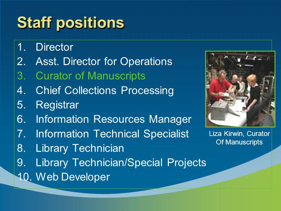 Staff positions 1.Director 2.Asst.