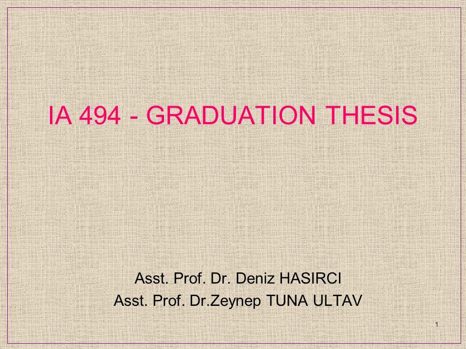 IA 494 - GRADUATION THESIS Asst. Prof. Dr. Deniz HASIRCI Asst. Prof. Dr.Zeynep TUNA ULTAV 1