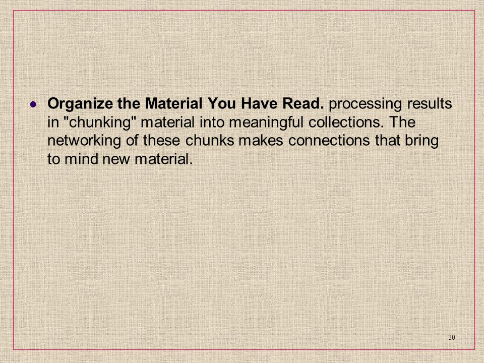 Organize the Material You Have Read.