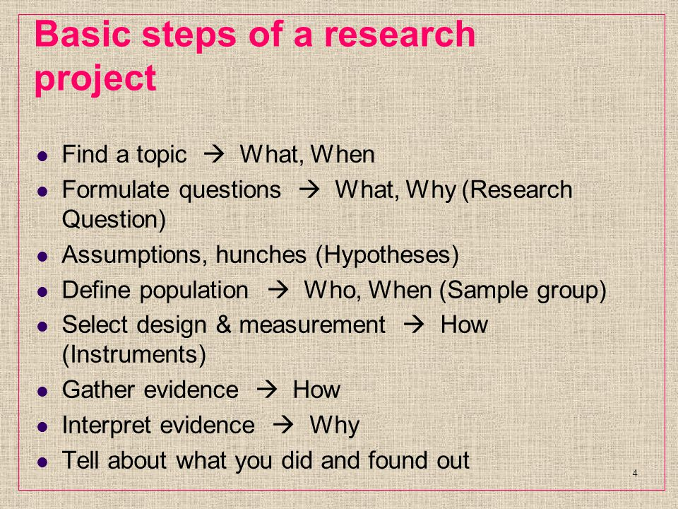 Basic steps of a research project Find a topic  What, When Formulate questions  What, Why (Research Question) Assumptions, hunches (Hypotheses) Define population  Who, When (Sample group) Select design & measurement  How (Instruments) Gather evidence  How Interpret evidence  Why Tell about what you did and found out 4