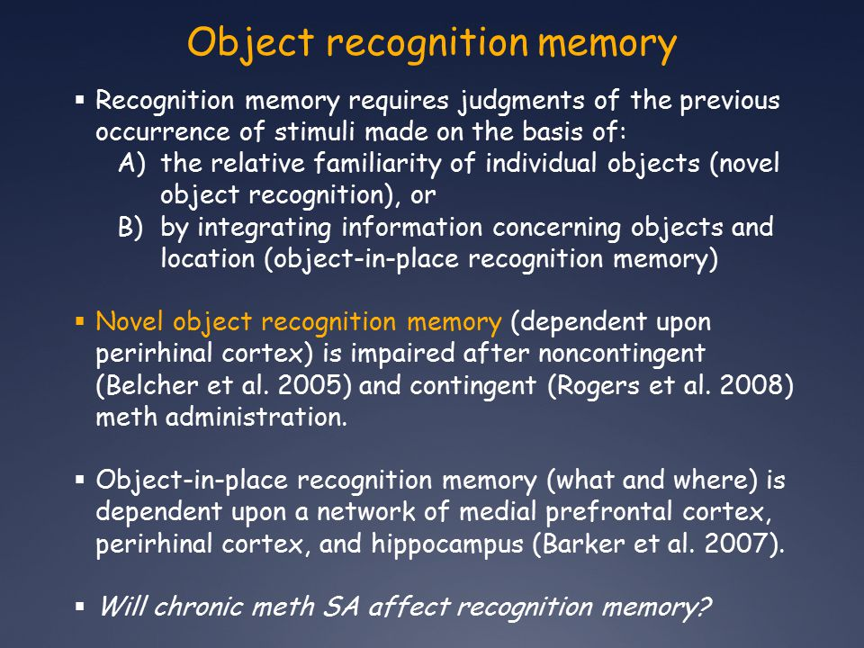 Novel object recognition A) Does chronic meth SA reduce novel object performance .