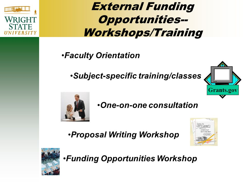 External Funding Opportunities-- Workshops/Training Faculty Orientation Subject-specific training/classes One-on-one consultation Proposal Writing Workshop Funding Opportunities Workshop Grants.gov