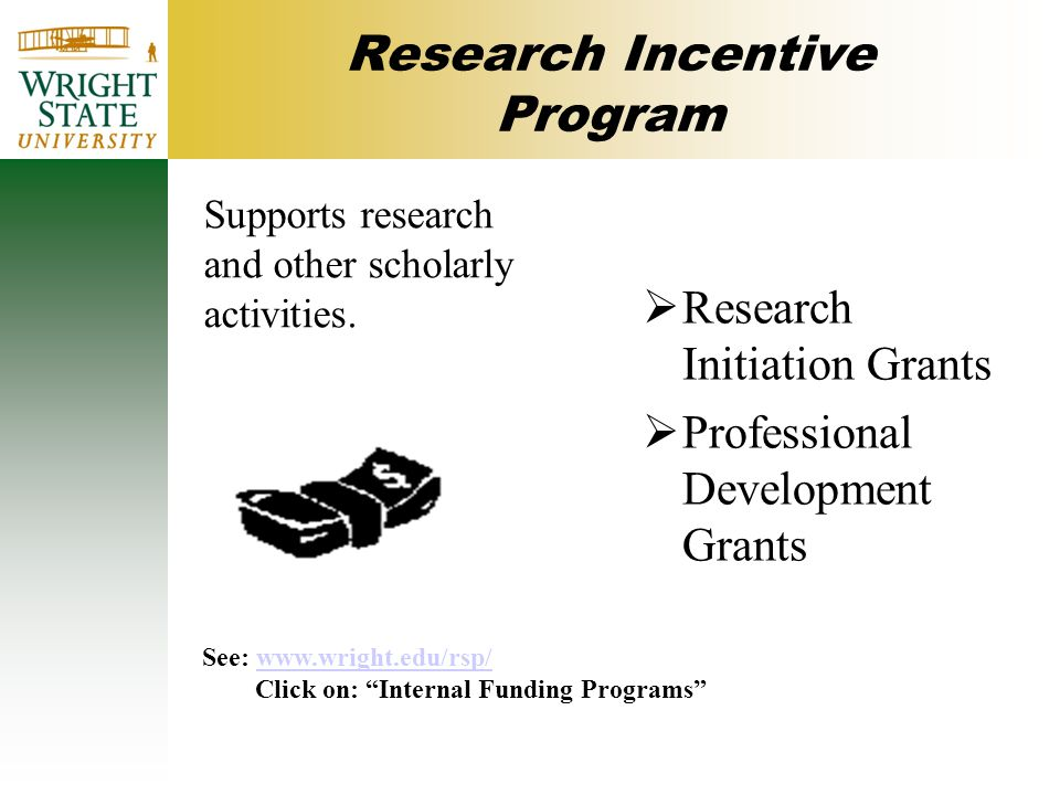 Research Incentive Program Supports research and other scholarly activities.
