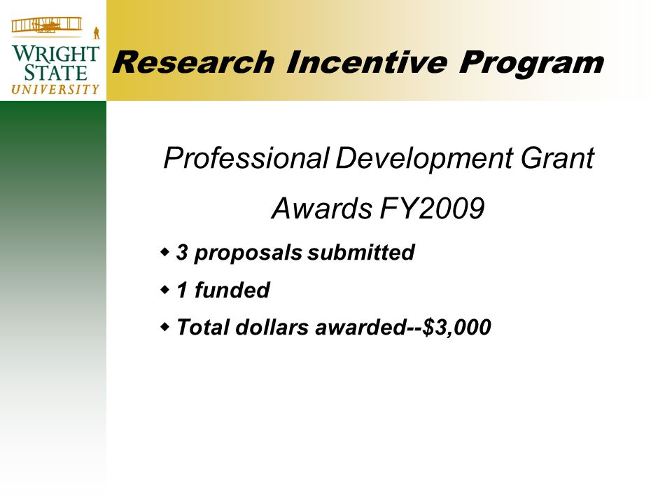 Research Incentive Program Professional Development Grant Awards FY2009  3 proposals submitted  1 funded  Total dollars awarded--$3,000