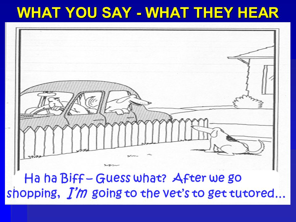 WHAT YOU SAY - WHAT THEY HEAR Ha ha Biff – Guess what.