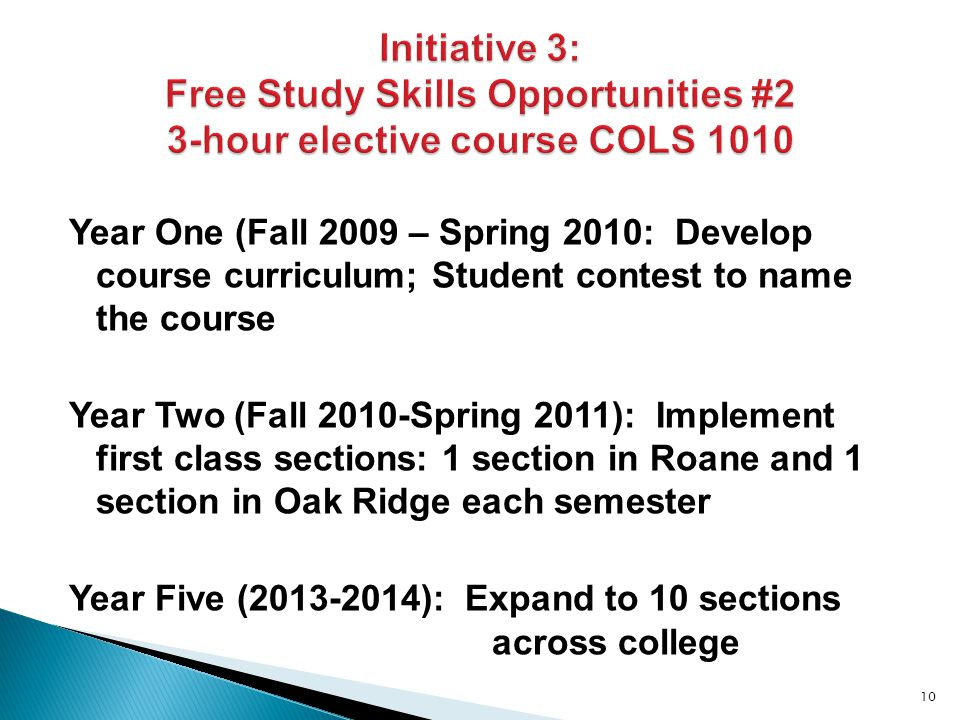 Year One (Fall 2009 – Spring 2010: Develop course curriculum; Student contest to name the course Year Two (Fall 2010-Spring 2011): Implement first class sections: 1 section in Roane and 1 section in Oak Ridge each semester Year Five (2013-2014): Expand to 10 sections across college 10