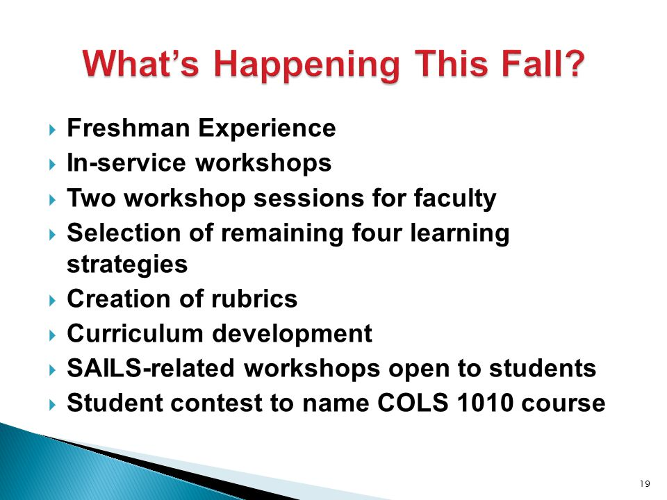  Freshman Experience  In-service workshops  Two workshop sessions for faculty  Selection of remaining four learning strategies  Creation of rubrics  Curriculum development  SAILS-related workshops open to students  Student contest to name COLS 1010 course 19