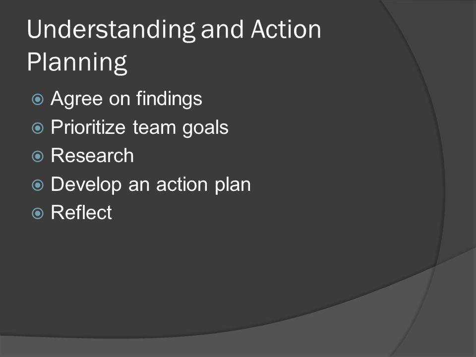Understanding and Action Planning  Agree on findings  Prioritize team goals  Research  Develop an action plan  Reflect