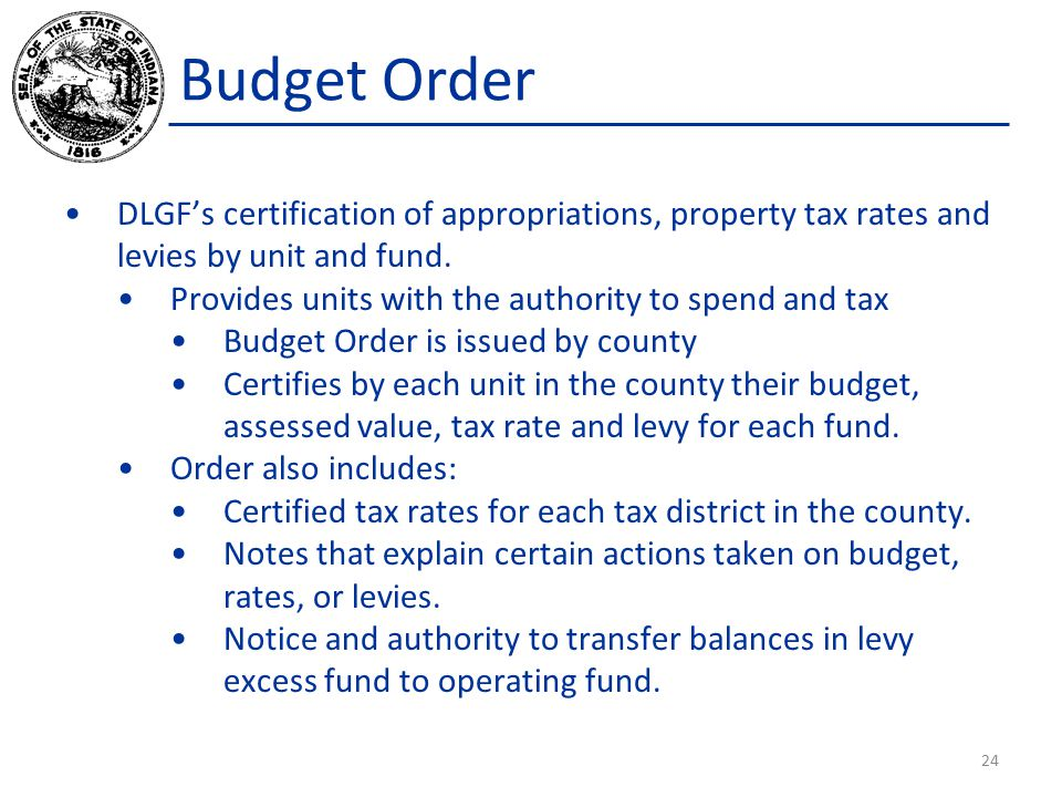 DLGF's certification of appropriations, property tax rates and levies by unit and fund.