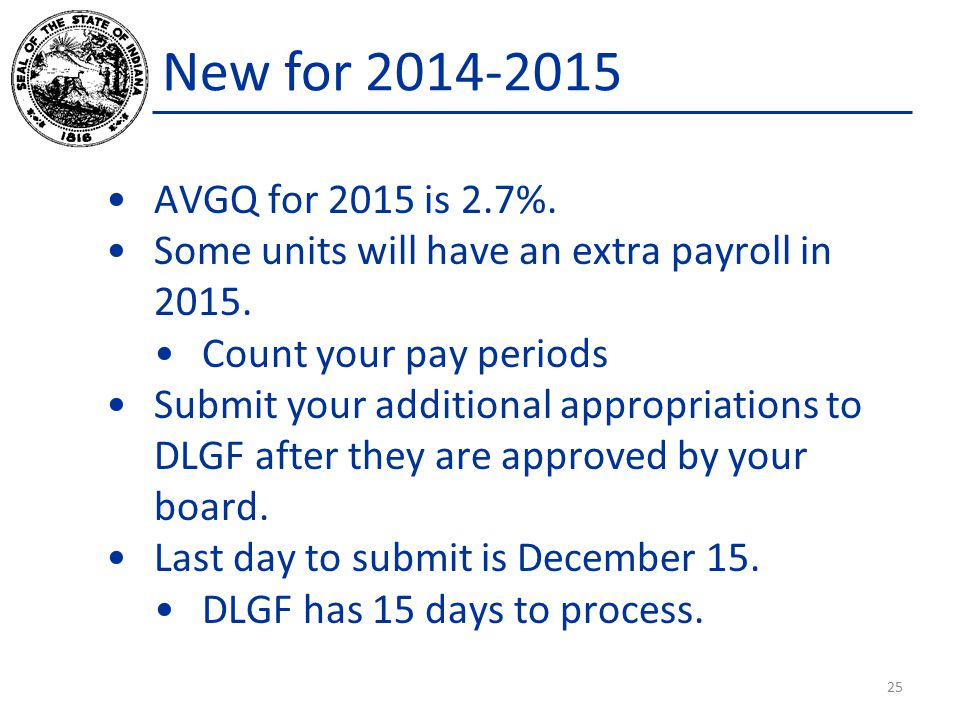 AVGQ for 2015 is 2.7%.Some units will have an extra payroll in 2015.