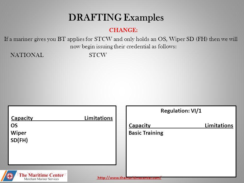 Regulation (s): II/3, II/4, II/5, VI/1, VI/2 Capacity Limitations MasterLimited to vessels of less than 500 Gross Tons.
