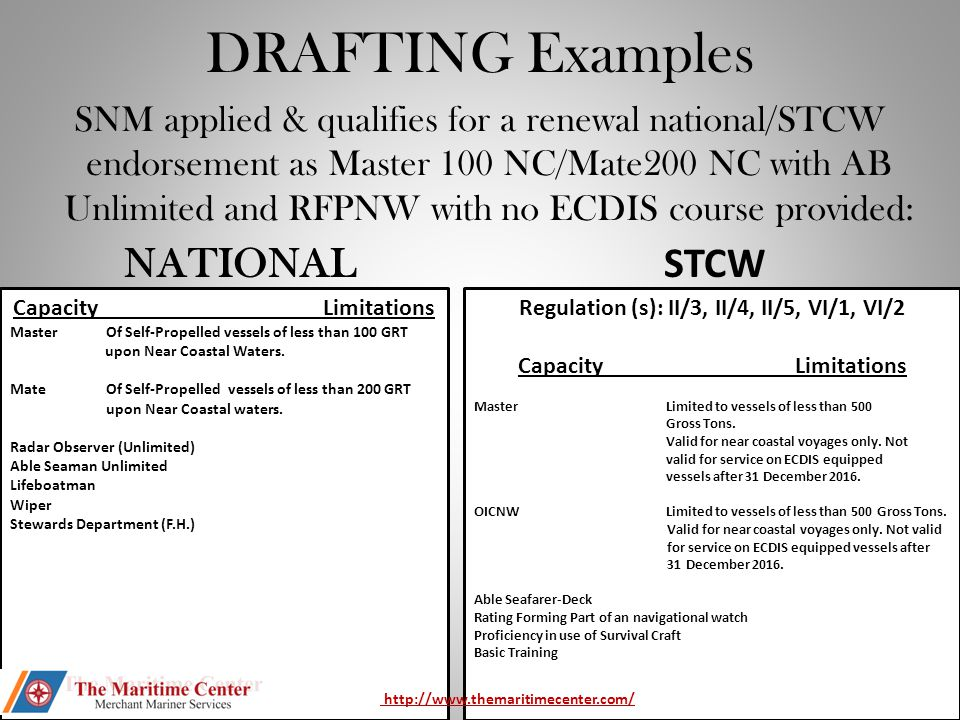 DRAFTING EXAMPLE SNM is renewing Second Mate Unlimited Tonnage OC, Master 1600 OC, and Master Towing OC and has not provided an ECDIS course but holds VSO currently.