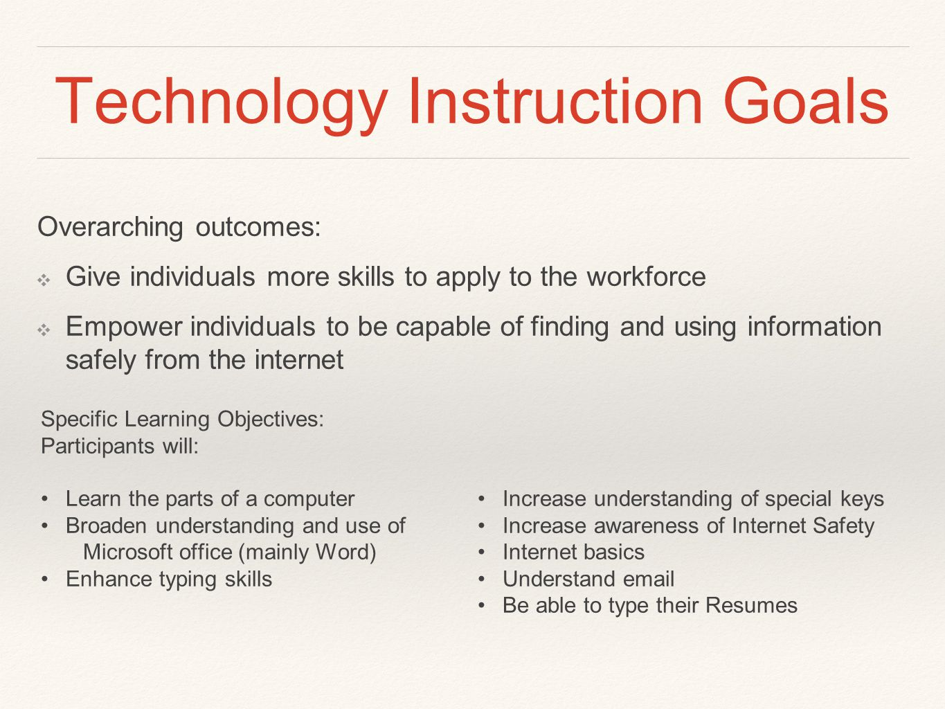 Technology Instruction Goals Overarching outcomes: ❖ Give individuals more skills to apply to the workforce ❖ Empower individuals to be capable of finding and using information safely from the internet Specific Learning Objectives: Participants will: Learn the parts of a computer Broaden understanding and use of Microsoft office (mainly Word) Enhance typing skills Increase understanding of special keys Increase awareness of Internet Safety Internet basics Understand email Be able to type their Resumes