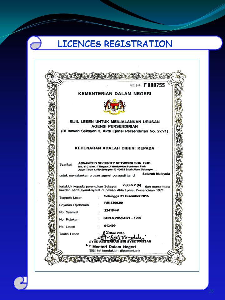 LICENCES REGISTRATION 26