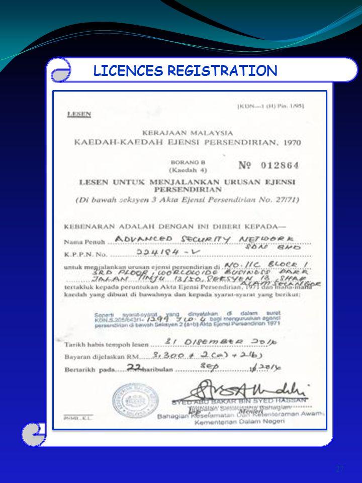 LICENCES REGISTRATION 27