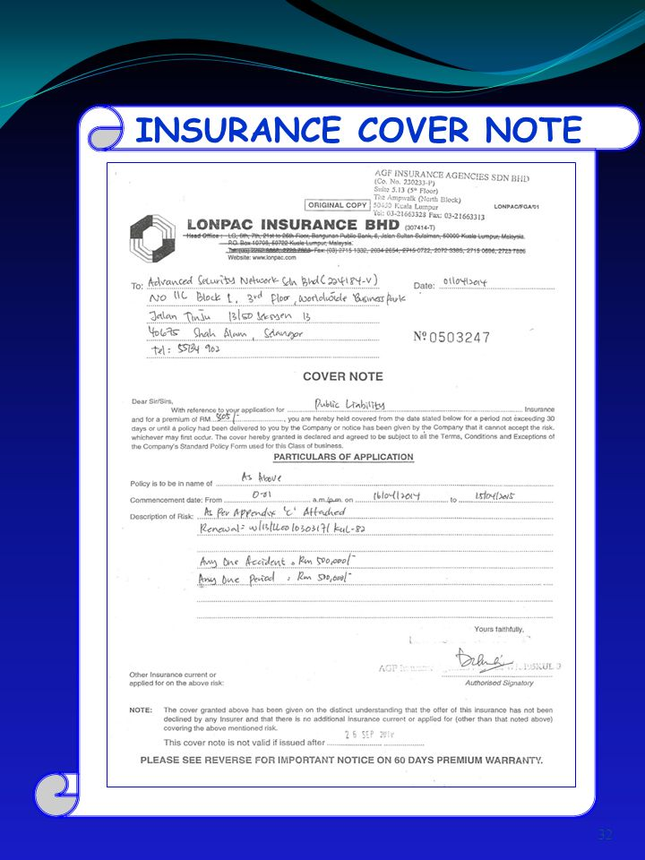 INSURANCE COVER NOTE 32