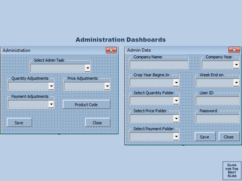 Administration Dashboards C LICK FOR T HE N EXT S LIDE C LICK FOR T HE N EXT S LIDE