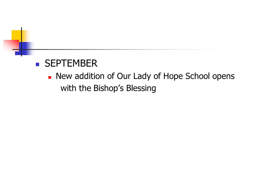 SEPTEMBER New addition of Our Lady of Hope School opens with the Bishop's Blessing