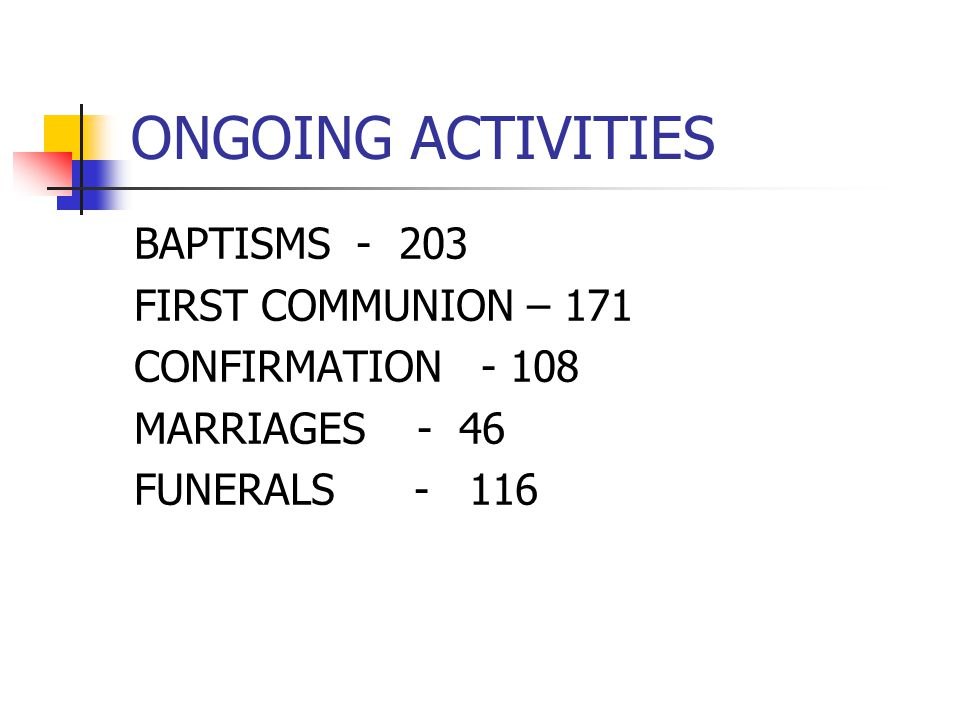 ONGOING ACTIVITIES BAPTISMS - 203 FIRST COMMUNION – 171 CONFIRMATION - 108 MARRIAGES - 46 FUNERALS - 116