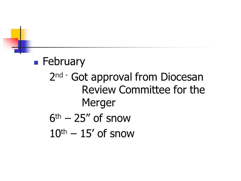 February 2 nd - Got approval from Diocesan Review Committee for the Merger 6 th – 25 of snow 10 th – 15' of snow