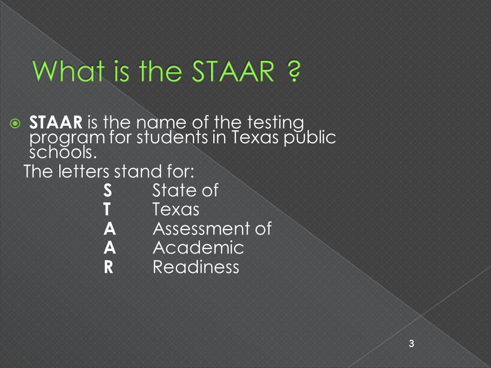  The STAAR test is a 'Criterion Referenced' test.