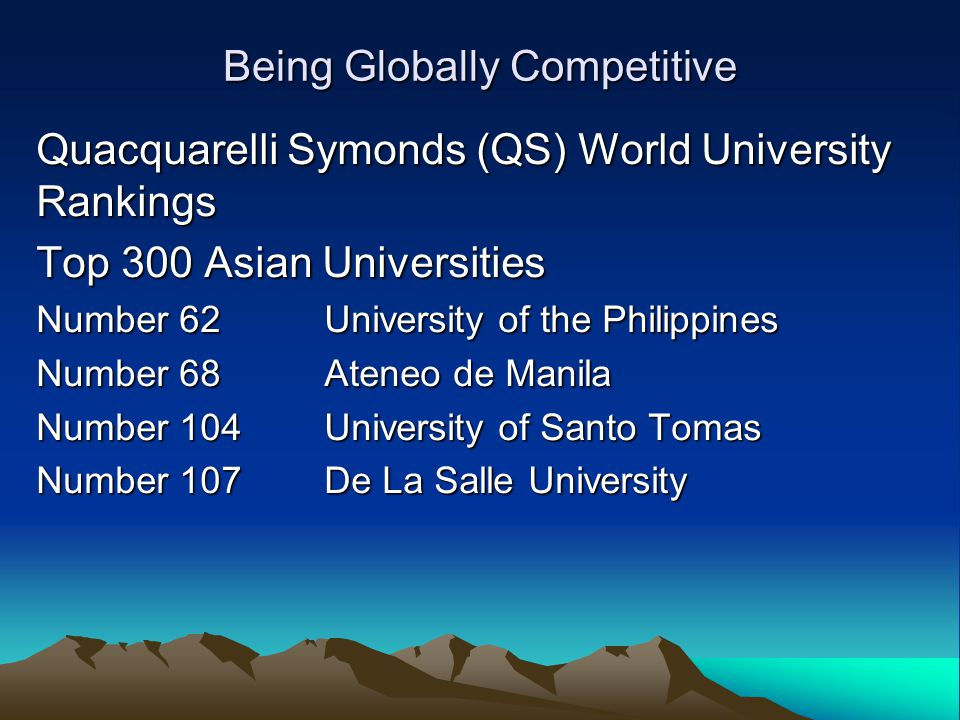 Being Globally Competitive Quacquarelli Symonds (QS) World University Rankings Top 300 Asian Universities Number 62 University of the Philippines Number 68 Ateneo de Manila Number 104 University of Santo Tomas Number 107 De La Salle University