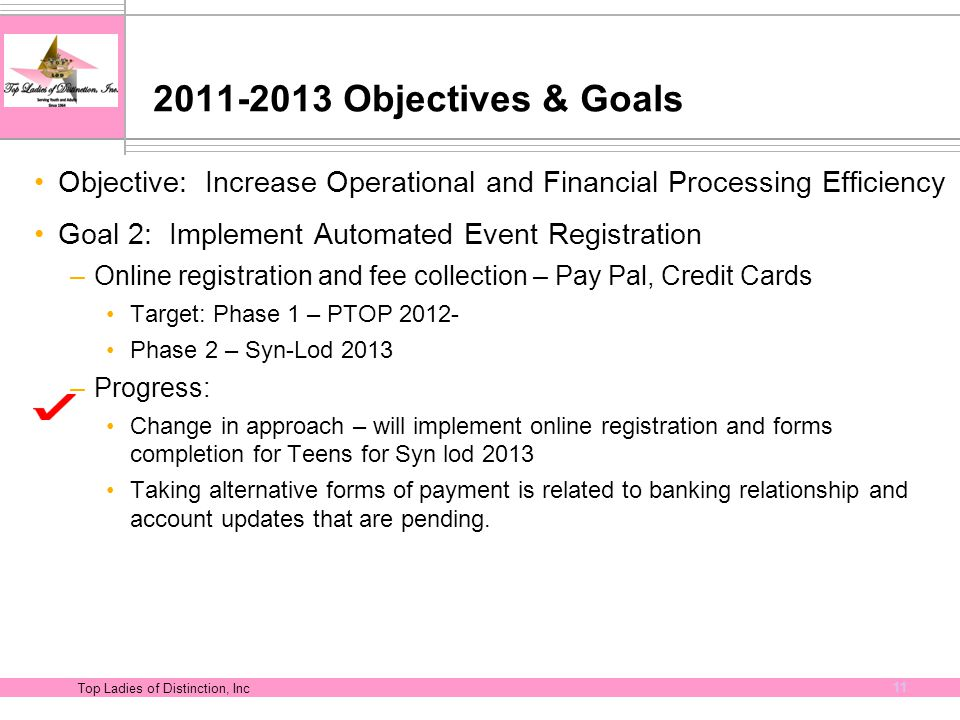 Top Ladies of Distinction, Inc 11 2011-2013 Objectives & Goals Objective: Increase Operational and Financial Processing Efficiency Goal 2: Implement A