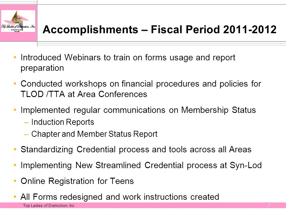 Top Ladies of Distinction, Inc 9 Accomplishments – Fiscal Period 2011-2012 Introduced Webinars to train on forms usage and report preparation Conducte