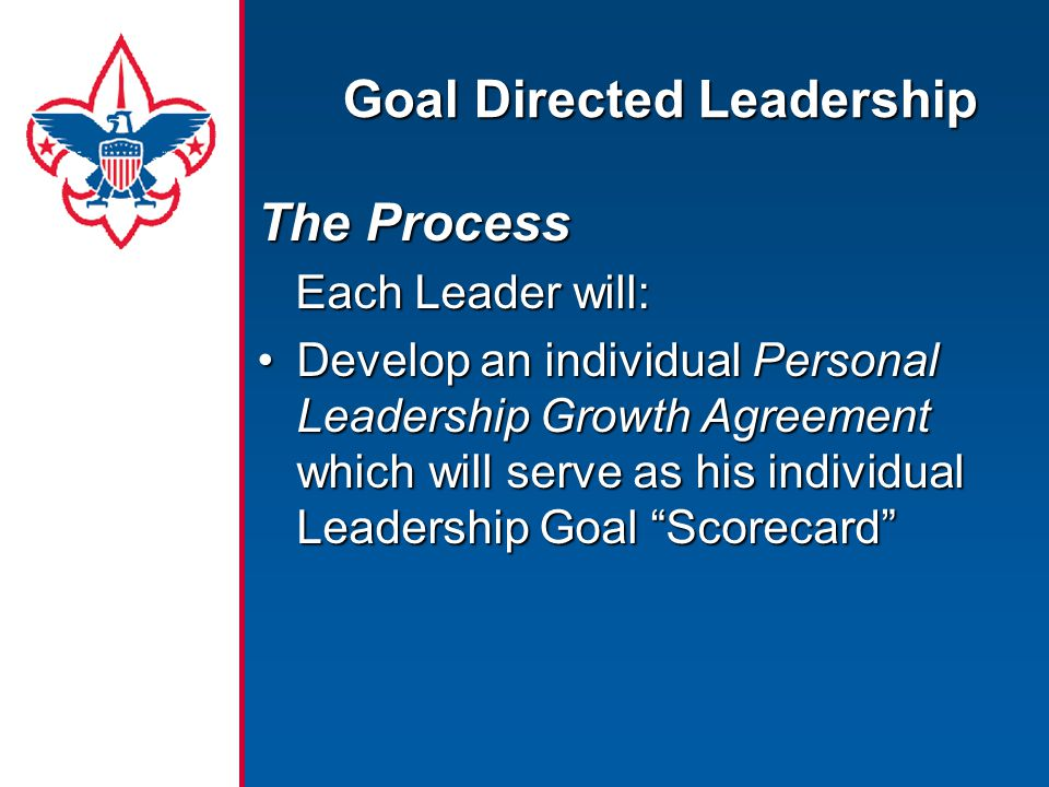 Goal Directed Leadership The Process Each Leader will: Each Leader will: Develop an individual Personal Leadership Growth Agreement which will serve a