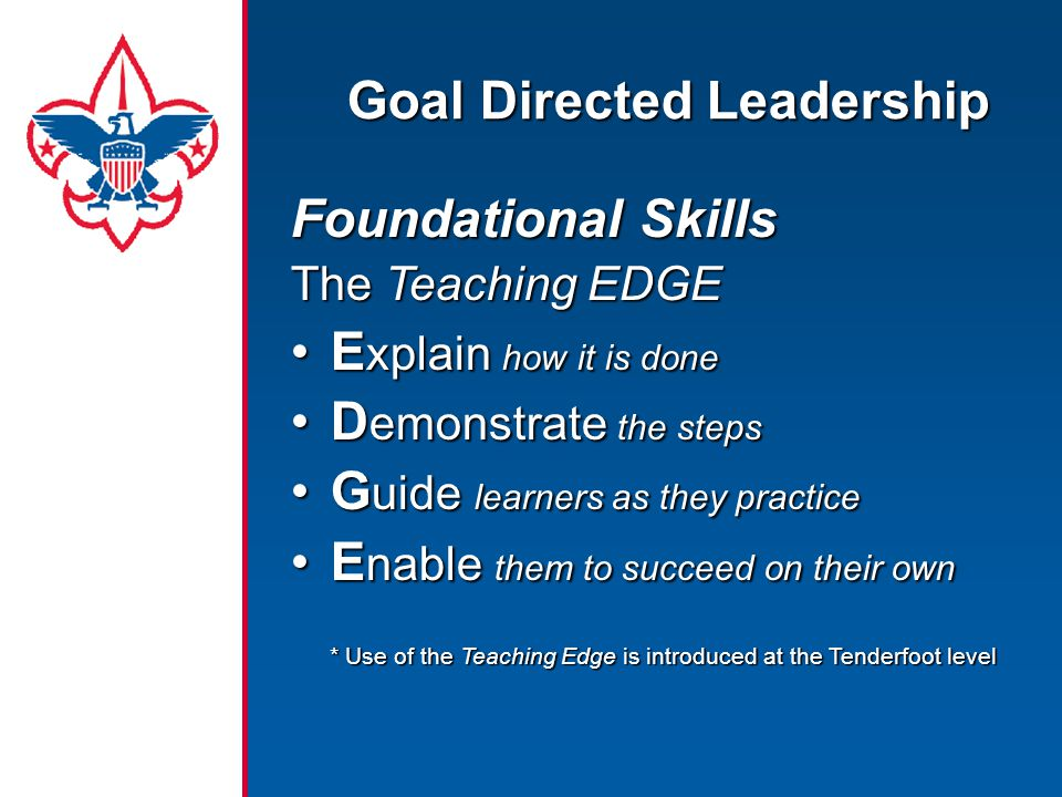 Goal Directed Leadership Foundational Skills The Teaching EDGE E xplain how it is doneE xplain how it is done D emonstrate the stepsD emonstrate the s
