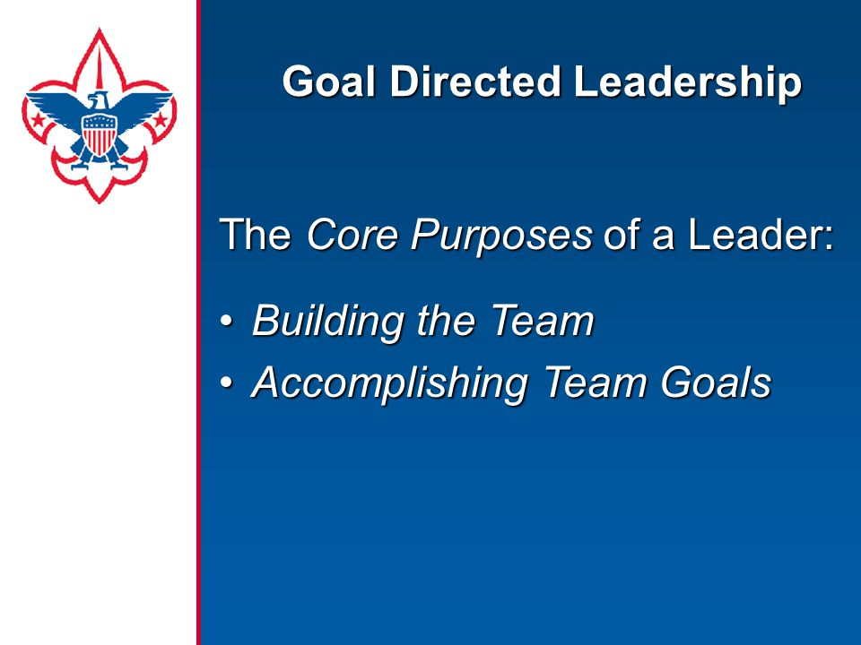 The Core Purposes of a Leader: Building the TeamBuilding the Team Accomplishing Team GoalsAccomplishing Team Goals