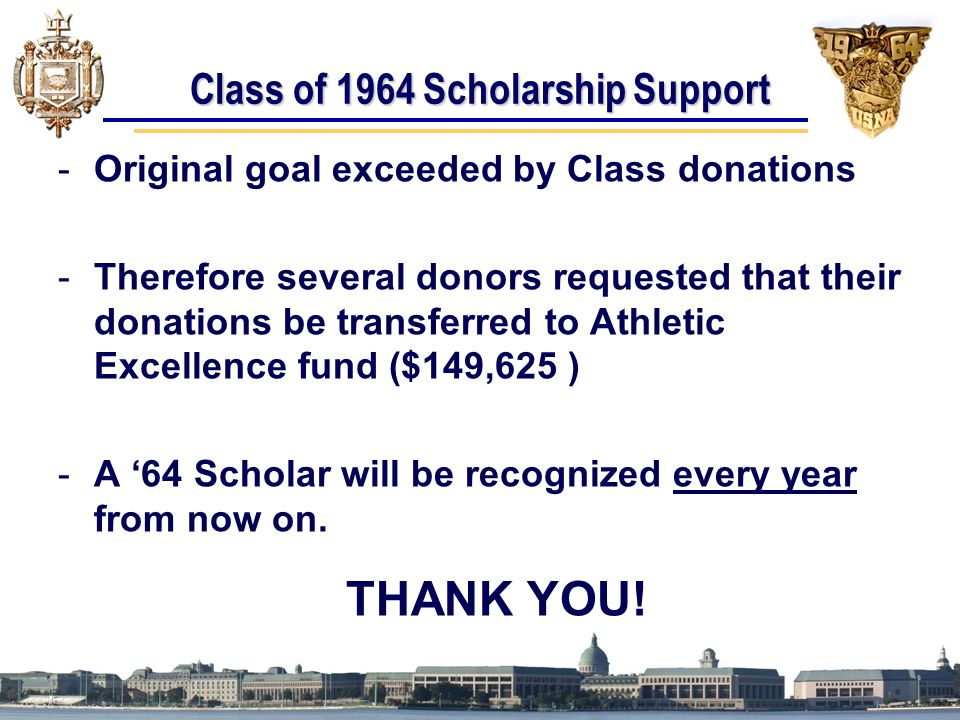 Class of 1964 Scholarship Support -Original goal exceeded by Class donations -Therefore several donors requested that their donations be transferred to Athletic Excellence fund ($149,625 ) -A '64 Scholar will be recognized every year from now on.