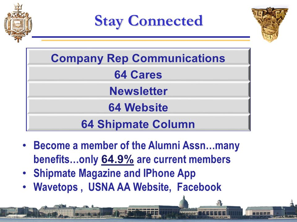 Stay Connected Become a member of the Alumni Assn…many benefits…only 64.9% are current members Shipmate Magazine and IPhone App Wavetops, USNA AA Website, Facebook Company Rep Communications 64 Cares Newsletter 64 Website 64 Shipmate Column