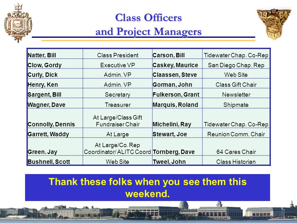 Class Officers and Project Managers Thank these folks when you see them this weekend.