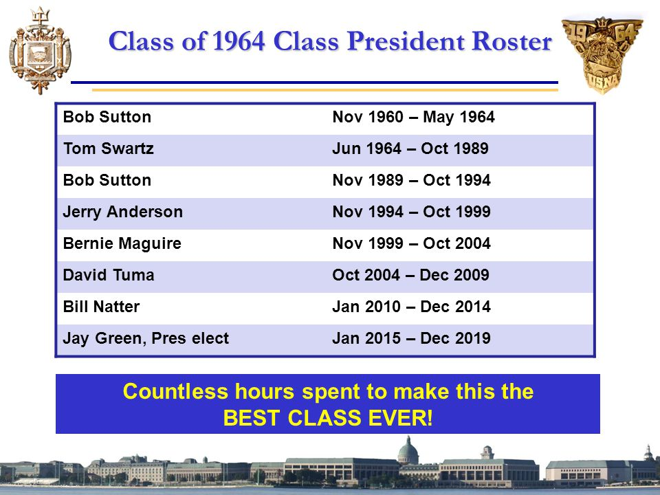 Class of 1964 Class President Roster Countless hours spent to make this the BEST CLASS EVER.