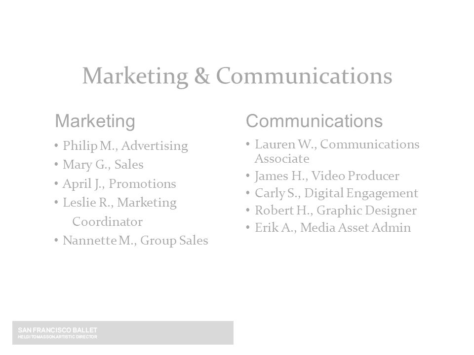 Philip M., Advertising Mary G., Sales April J., Promotions Leslie R., Marketing Coordinator Nannette M., Group Sales Marketing Marketing & Communicati