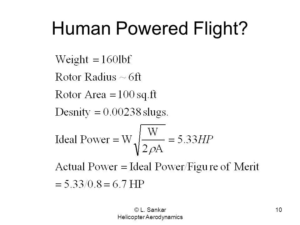 © L. Sankar Helicopter Aerodynamics 10 Human Powered Flight?