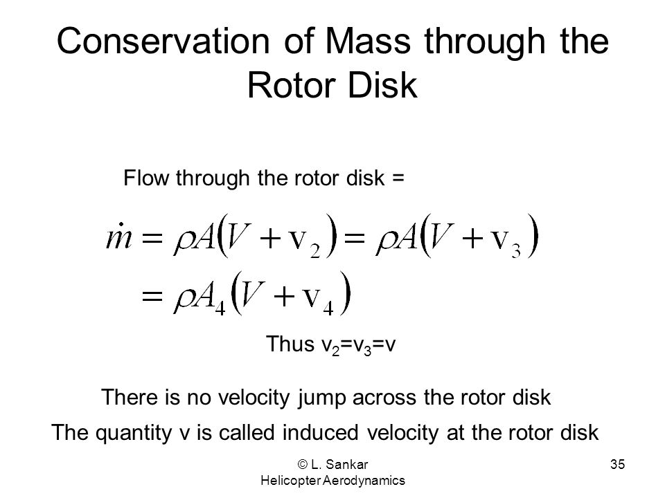 © L. Sankar Helicopter Aerodynamics 35 Conservation of Mass through the Rotor Disk Flow through the rotor disk = Thus v 2 =v 3 =v There is no velocity