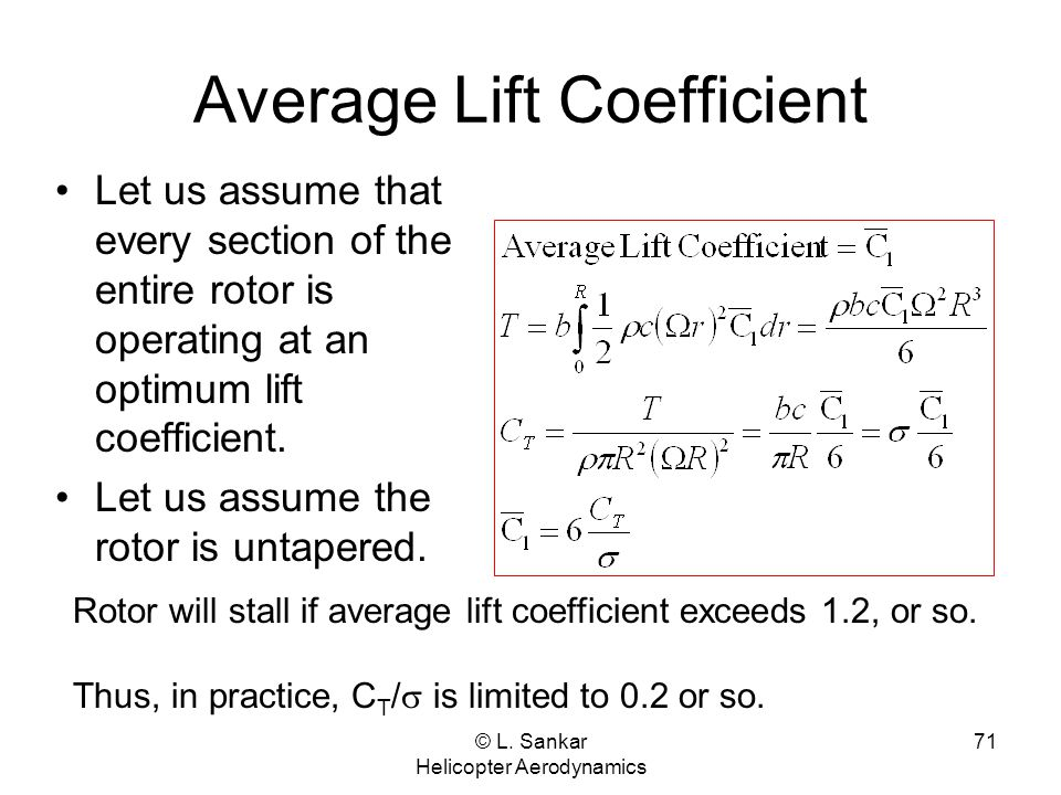© L. Sankar Helicopter Aerodynamics 71 Average Lift Coefficient Let us assume that every section of the entire rotor is operating at an optimum lift c